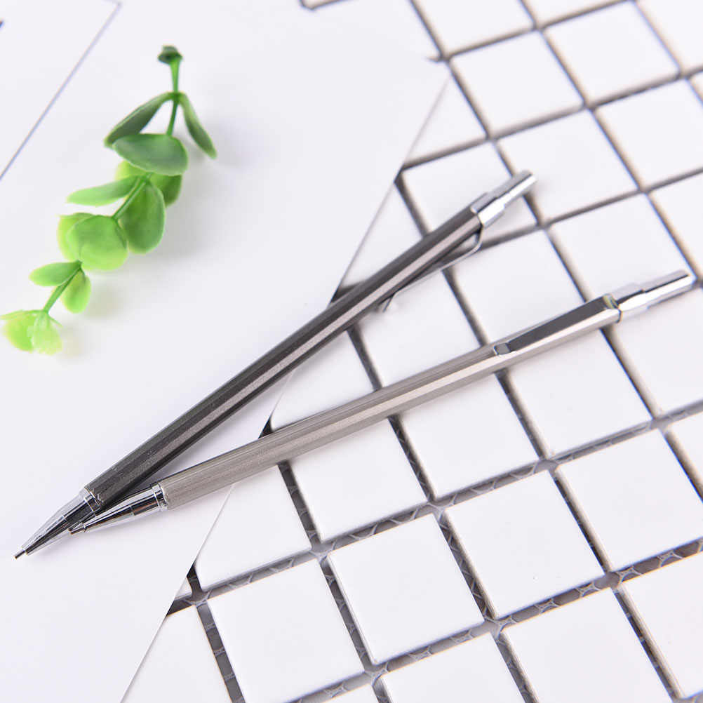 Lápis mecânico vara de metal caneta lápis automático chumbo recarga escola papelaria atacado 0.5/0.7mm