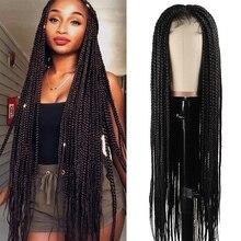 Peluca con malla frontal 30 pulgadas caja larga pelucas de encaje trenzado para las mujeres negras Ombre sintético caja marrón trenza Peluca de encaje parte media