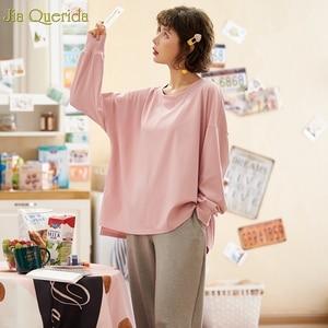 Image 3 - מינימליסטי סגנון נשים של הלבשת Loose גודל ורוד למעלה גריי מכנסיים נשים של שני חתיכות כותנה Pjs תלמיד בנות בית בגדי חליפה