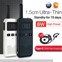 Walkie-talkie Mini, estación transceptor de Radio bidireccional, Walkie Talkie de mano, intercomunicador inalámbrico portátil, 2 uds.