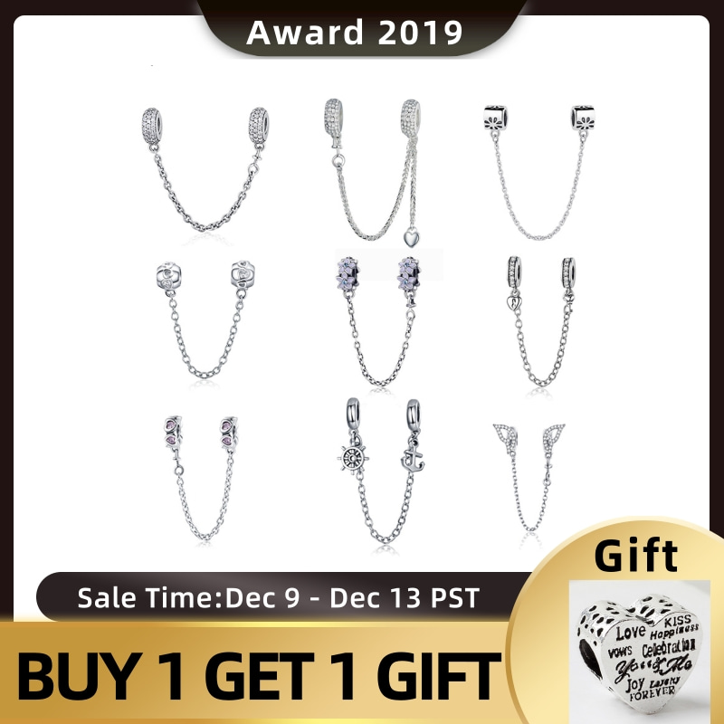 Genuine 925 Sterling Silver Safety Chain Charm Cubic Zirconia Beads For Bracelet