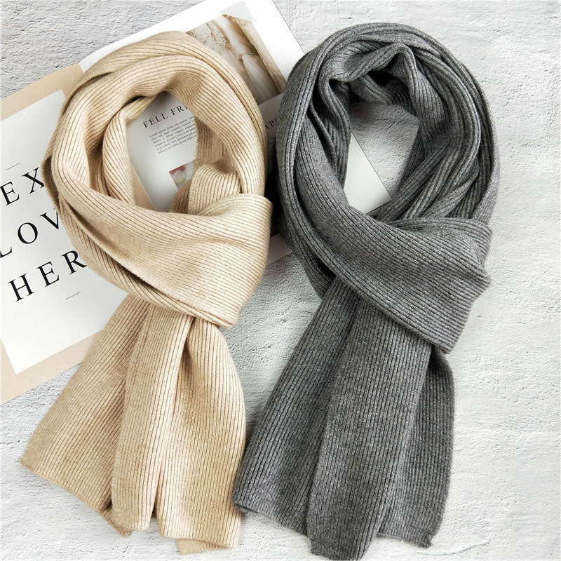 30*180cm Women Solid Cashmere Scarves Lady Winter Thicken Warm Soft Shawls Wraps Pure Color Couple Knitted Wool Long Scarf