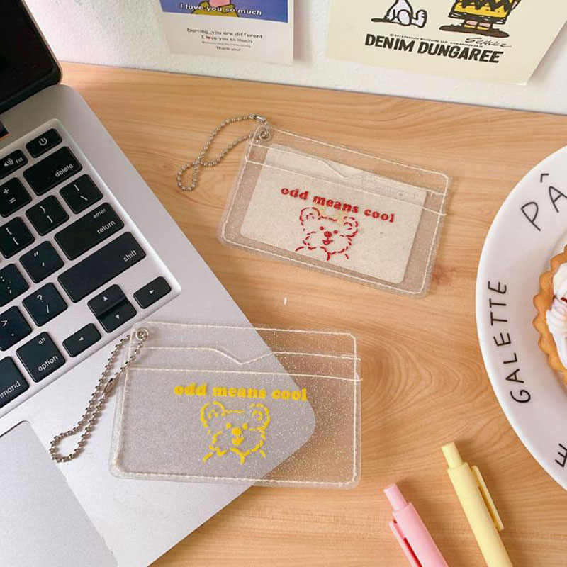 1 Pcs Brief Style Bear Transparent Bank Credit ID Card Holders Cover Women Travel Credit Bus Keychain Wallet Korean Stationery