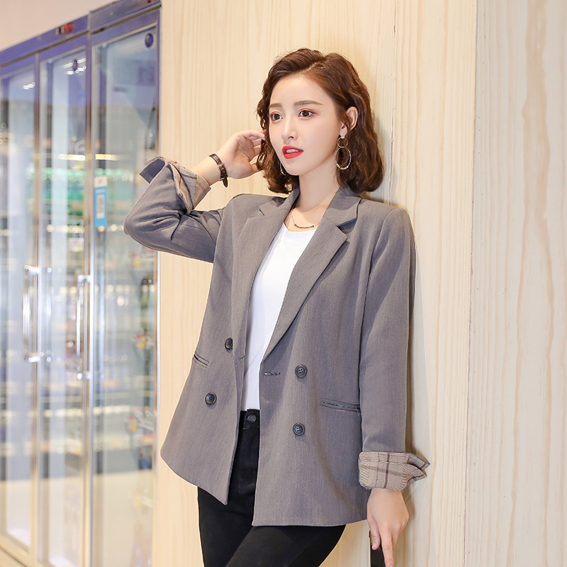 Elegant ladies jacket high quality 2019 new temperament plaid sleeves double-breasted women's blazer Large size office suit