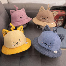 New Baby Autumn And Winter Korean Cartoon Cat Baby Cashmere Fisherman Hat Children Fashion Fisherman Basin Hat Bonnet Enfant(China)