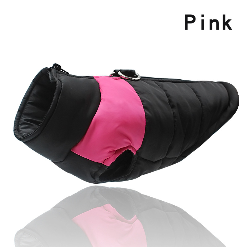 Pink-Winter Warm Dog Clothes Waterproof Pet Padded Vest Zipper Jacket Coat For Small Medium Large Dogs