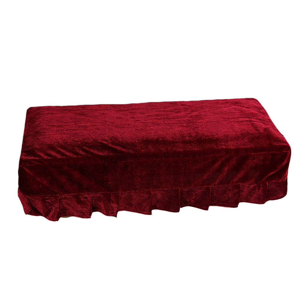 Universal Piano Stool Chair Bench Cover Pleuche Decorated With Macrame For Piano Single / Dual Seat Bench