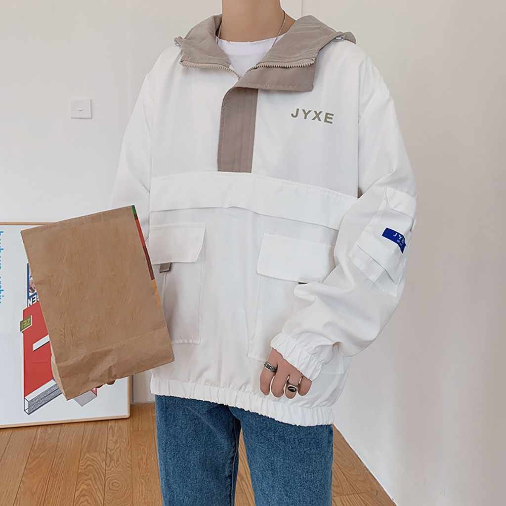 Kancooldメンズ秋の新ファッショントレンドジッパーステッチ付き薄型ジャケットトップアウトドアスポーツ防風ルースコートJul16