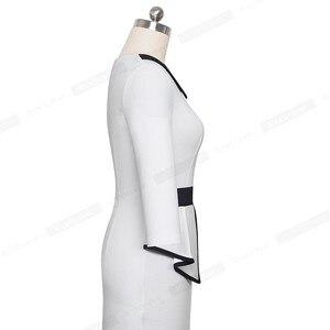 Image 5 - لطيفة للأبد أنيقة التباين اللون المرقعة مكتب مع بوتون الكشكشة vestidos الأعمال الرسمية الشتاء Bodycon المرأة اللباس B558