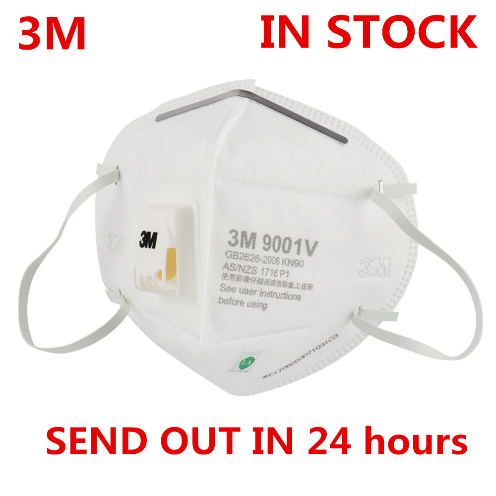 IN STOCK 3M 9001V Masks FFP2 FFP3 PM2.5 KN95 Ear Band Particulate Respirator Dust Mask With Cool Flow Valve Breathable Mask