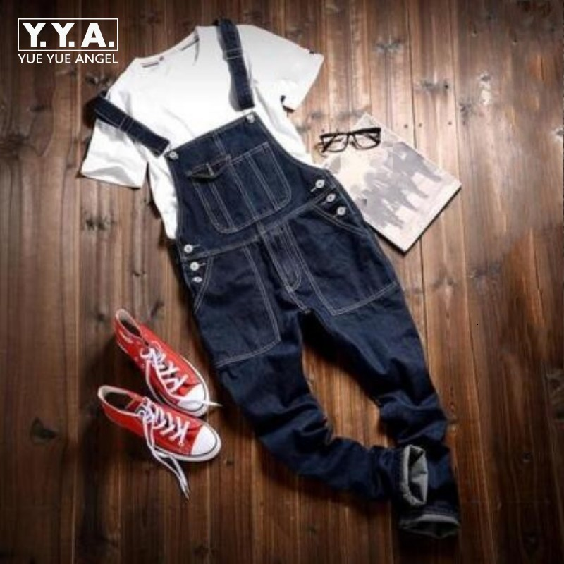 New Mens Cargo Blue Pants Slim Fit Skinny Jeans Overall Black Detachable Suspenders Pants Size L Jean Free Shipping