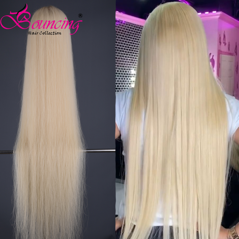Wig Virgin-Hair Transparent Lace Straight Full-Lace 613-Blonde Pre-Plucked Bouncing  title=