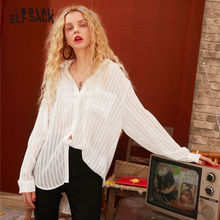 ELFSACK White Striped Pearls Button Casual Chiffon Women Blouse Shirt