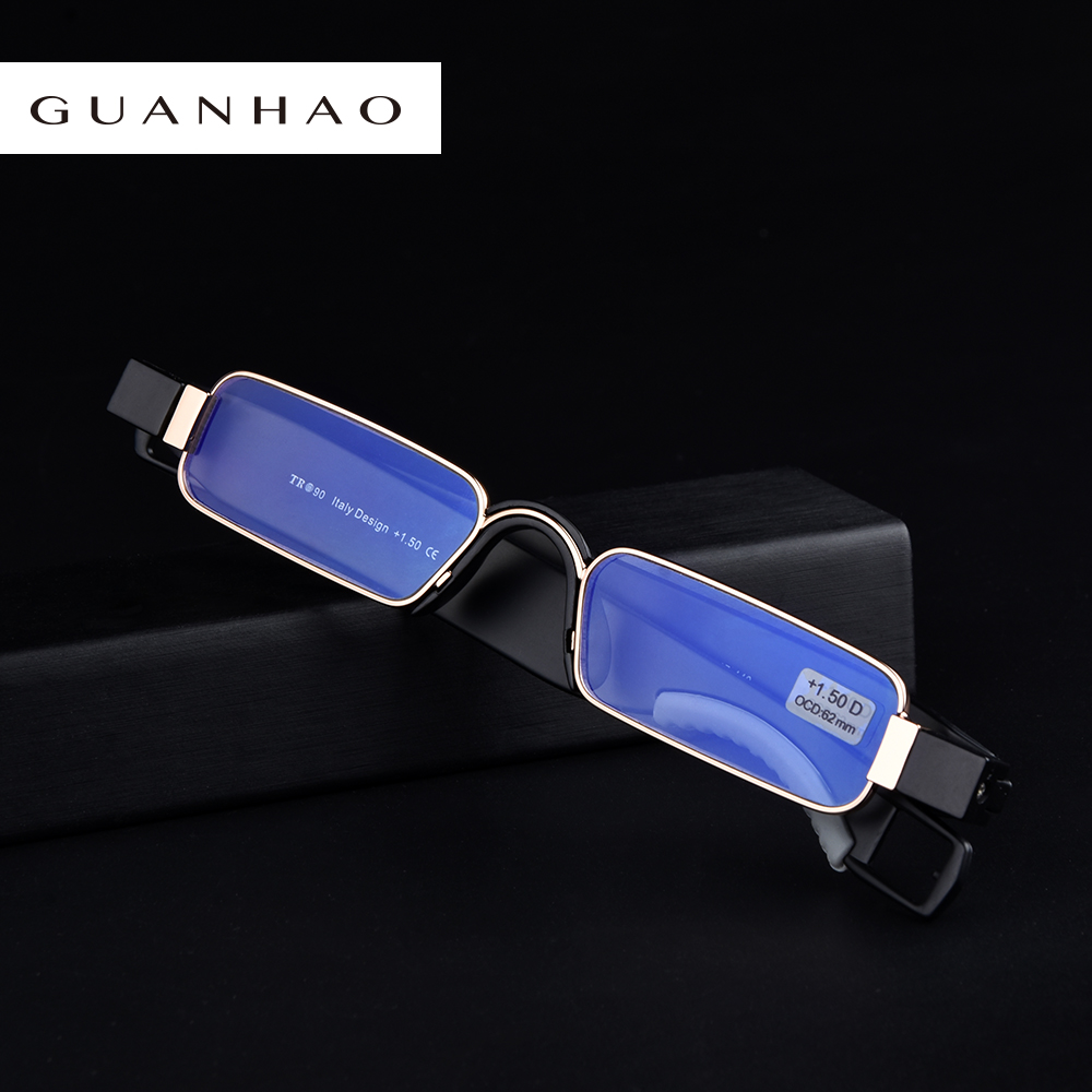 Guanhao Aniti Bue Light Ray Folding Reading Glasses Men Women Rotating Diopter Optical Computer Glasses Spectacles Oculos 1.5|folding reading glasses men|folding reading glassesreading glasses - AliExpress