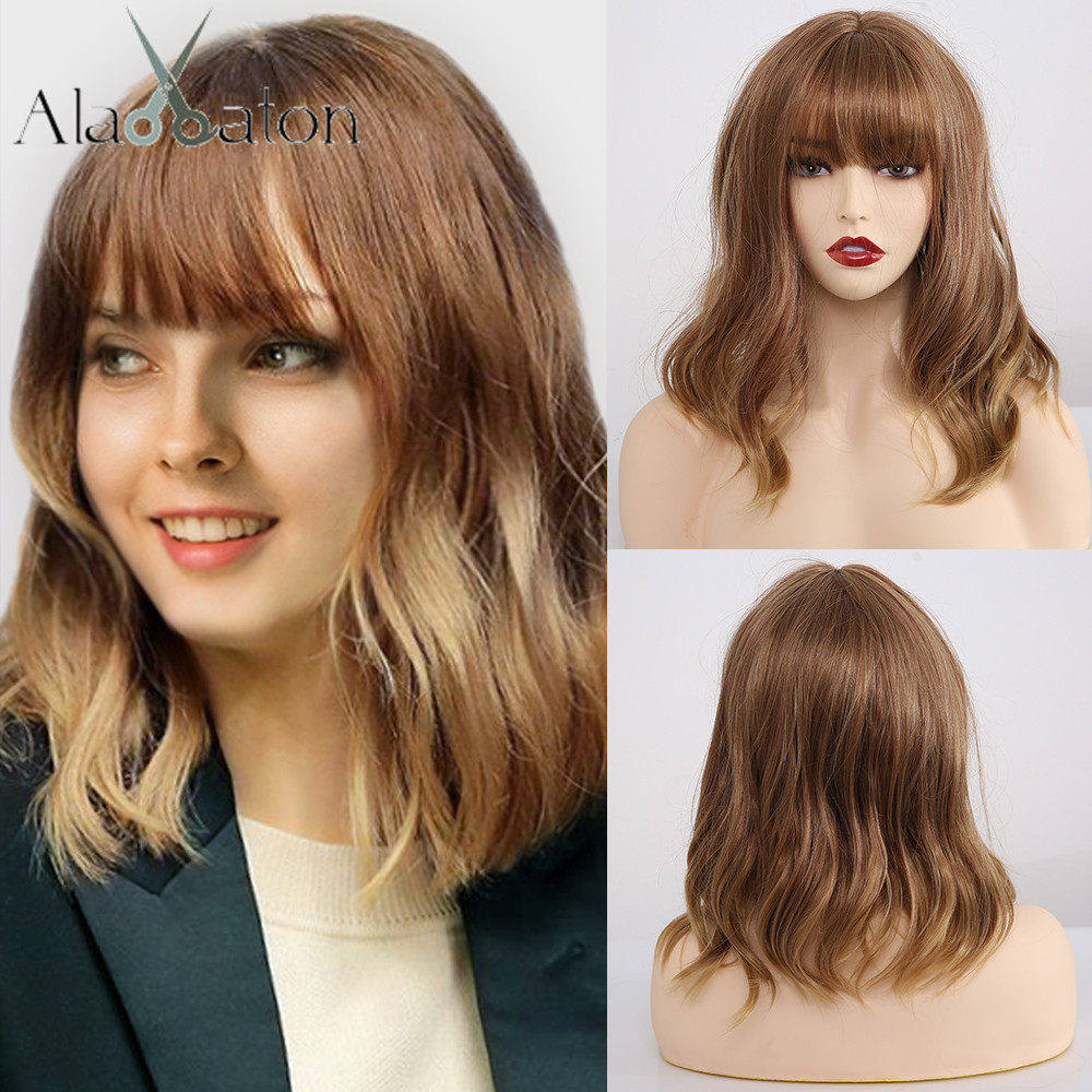 ALAN EATON Short Ombre Brown Blonde Wavy Highlight Synthetic Bobo Wigs With Bangs Wave Wigs Cosplay Halloween Hair For Women