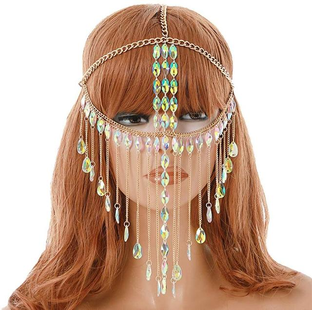 Mask Ball for Women   Gold Metal Rhinestone Grystal Face Chain Mask Jewelry for Women