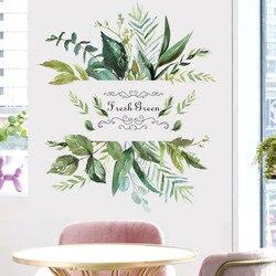 Настенный стикер в деревенском стиле с зелеными листьями для гостиной, фона для телевизора, настенный стикер для детской комнаты, Настенный...