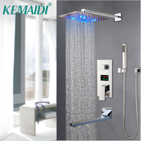 KEMAIDI LCD Digital Display Bath Shower Faucet Embedded Box Triple Valve Shower Head Rotation Spout Concealed Bath Faucets