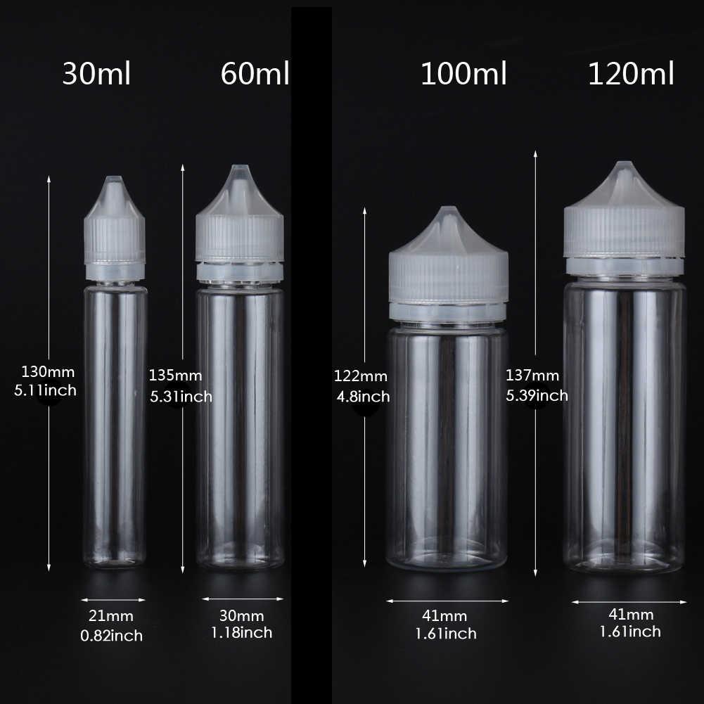 100pcs x 10ml-120ml ขวดพลาสติกเปล่า E Liquid น้ำน้ำมันสัตว์เลี้ยงล้างภาชนะกับ CRC หมวก Droppers