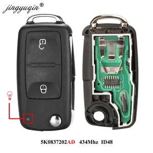 jingyuqin 2 Buttons Flip Remote Car key 7E0837202AD 434MHz for VOLKSWAGEN VW Amarok Transporter 2011-2016 ID48 chip 5K0 837202AD