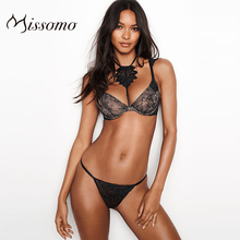 Missomo New Fashion Women Black Sexy French Thin Cup Lace Ruffled Shoulder Strap Front Chest Embroidered Hanging Sets