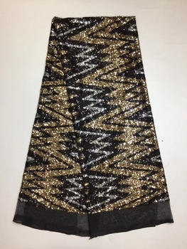 Gold African Lace Fabric High Quality African Tulle Lace Fabric For wedding dress Sequins French Lace Fabric X1895