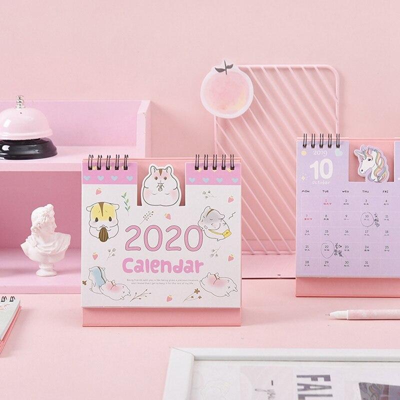 2020 Cartoon Desktop Calendar Mini Table Calendar Paper Calendar Daily Schedule Office School Record Plan Supplies New Arrival