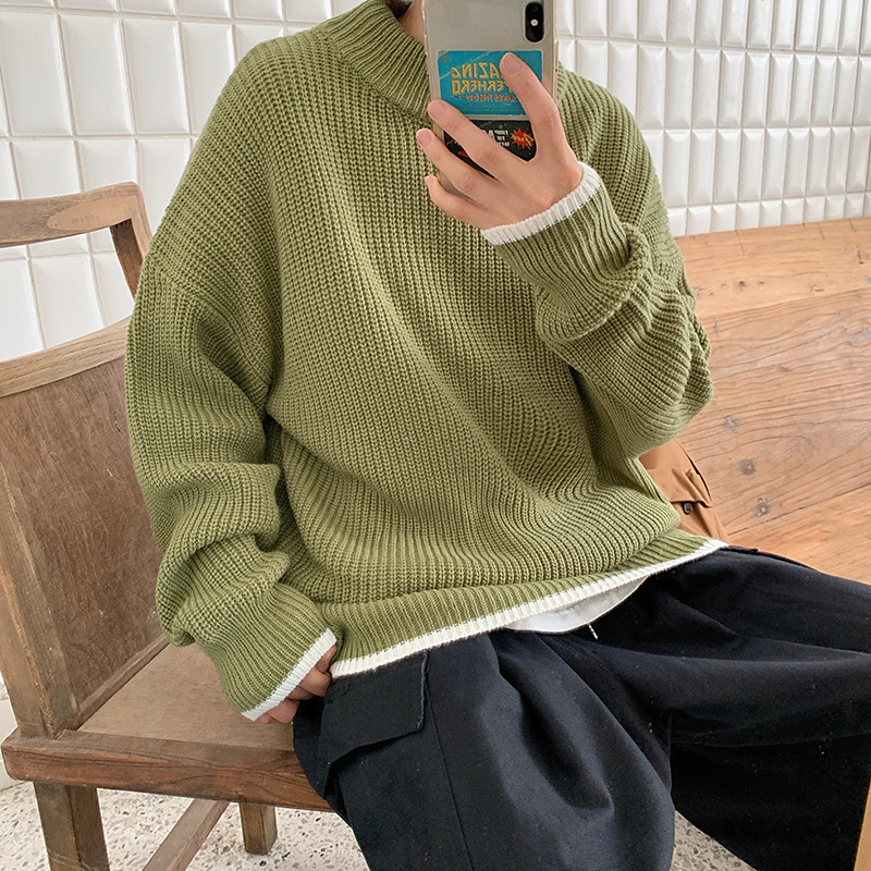 Winter New Sweater Men Warm Fashion Solid Color Casual O-neck Sweater Pullover Man Streetwear Wild Loose Long-sleeved Sweater