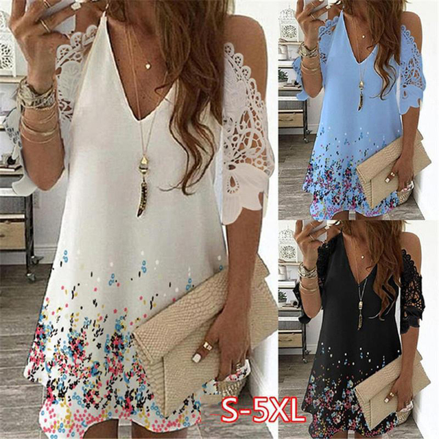 Summer Vintage Floral Printed Dresses Women Casual Off Shoulder Half Sleeves Lace Dress Hollow Out V-Neck Sling Party Dresses 1