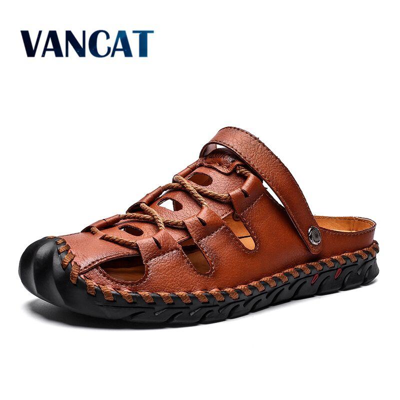 Summer Sandals Men Leather Classic Roman Sandals 2020 Slipper Outdoor Sneaker Beach Rubber Flip Flops Men Water Trekking Sandals