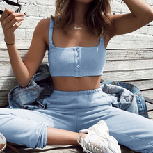 все цены на WannaThis 2 Pieces Set Women Crop Top and leggings Button Blue Slim Elastic Ribbed Knitted Cotton Slim Fashion Streetwear Sets онлайн