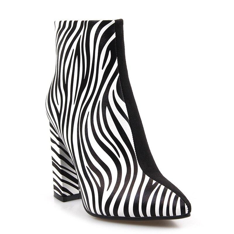 2019 women shoes  hot zebra grain zipper pointed high low short boots
