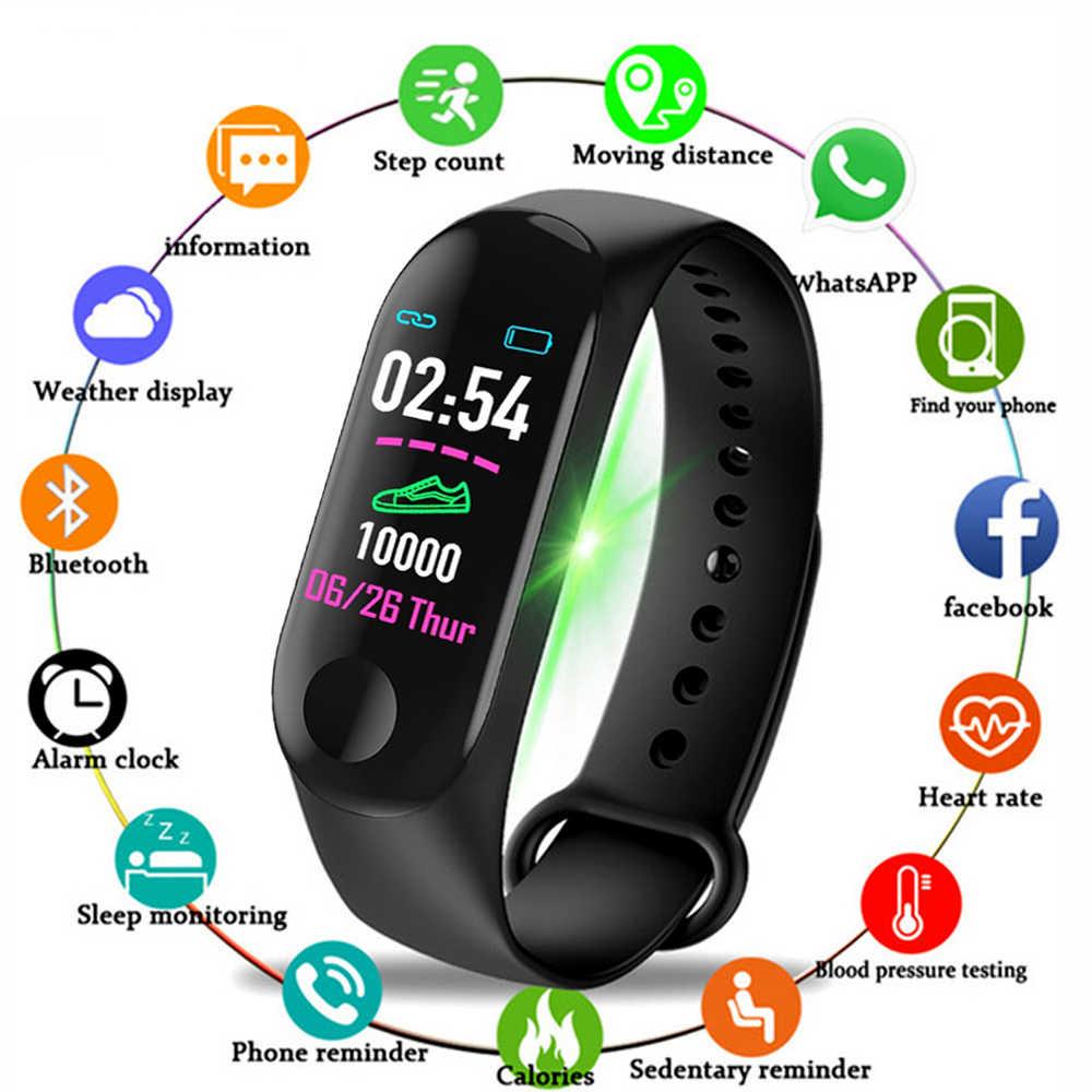 M3 Sport Smart Gelang dengan Tali Pria Smart Band Dukungan Birutoot Aktivitas Kebugaran Tracker Smart Watch untuk Pria dan Wanita colck