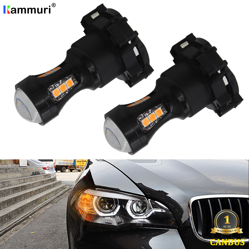 No Error Amber PY24W 5200s LED Bulbs For Audi A4 B8 Q5 BMW X3 E90 E92 E83 E70 F10 F11 F07 Mercedes W221 Front Turn Signal Lights