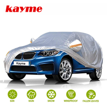 Kayme Car Cover for Automobiles Waterproof All Weather Sun Uv Rain Protection with Zipper Mirror Pocket Fit Sedan SUV Hatchback