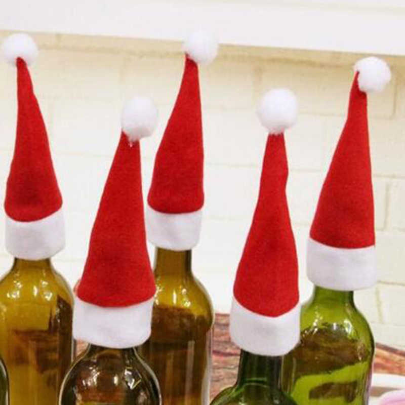 10 шт. Рождественская Шляпа Санты чашка шляпа Мини Санта крышка Рождественский подарок Рождественская бутылка вина крышка украшения