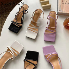 SUOJIALUN 2020 Summer New Brand Design Women Sandal Ladies Elegant Buckle Strap