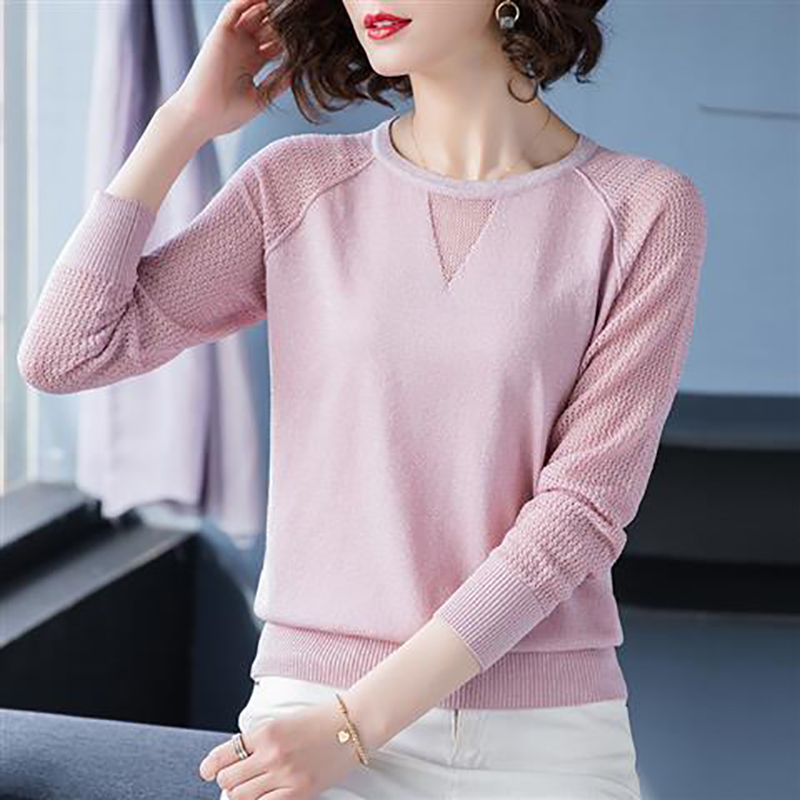 Women Spring Autumn Style Knitted Blouses Shirts Lady Casua Long Lace Sleeve O-Neck Knitted Blusas Tops DD8858 10
