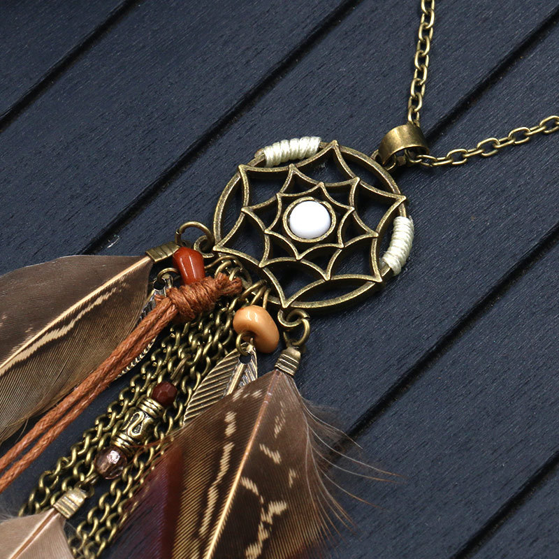 H2799ce14d33747208f1296f2d9d89c36A - Women Bohemian Ethnic Long Chain Feather Pendant Dreamcatcher Necklace Choker Boho Clothing Jewelry Accessories