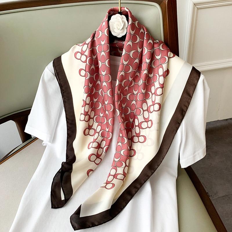 New Style Headscarf Spring Autumn Women's Fashion Printing Large 70cm Square Scarf Lady Beach Silk Scarves Luxury Travel Shawl
