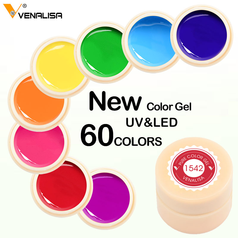 Venalisa Color Gel Paint Uv Nail Gel Soak Off Nail Art Led Nail Lacquer 60 Colors Glitter Rainbow Painting Gel Nail Polish