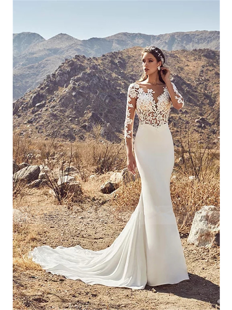 Vestido Novia Elegant Backless Mermaid Wedding Dress Long Sleeves Lace Appliques Wedding Gown White Ivory Stain Bride Dresses