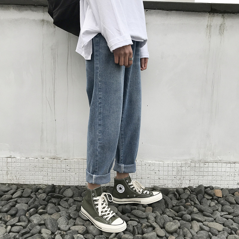 Korean-style Trend Straight-Cut Jeans Retro Loose-Fit Men Handsome Capri Pants Summer Thin Section Casual Fashion Man Pants