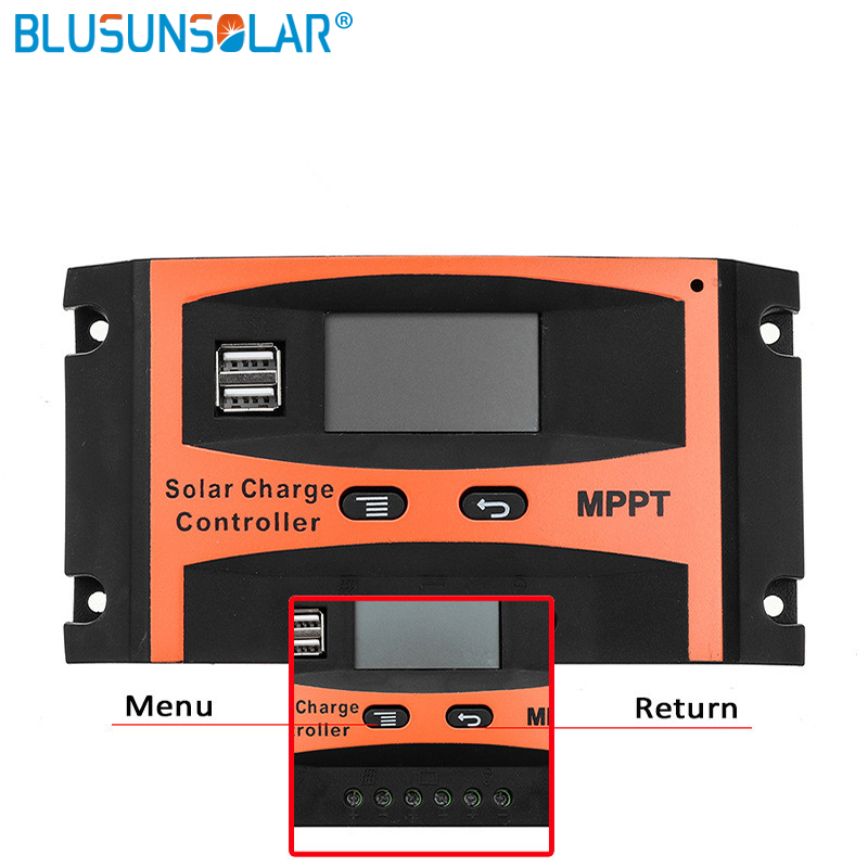 12V/24V Auto 30A 40A 50A 60A MPPT Solar Charge Controller Solar Panel Battery Regulator Dual USB LCD Display With User Manual
