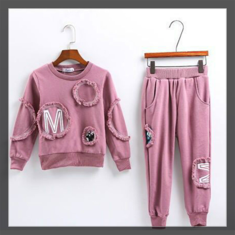 Teenage Girls Clothes Children Clothing Set Cotton Sweatshirt + Pants Two-Piece Casual pink Kids Girls Clothes Suit 10 12 years