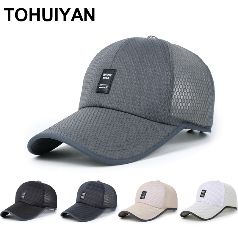 2020 Summer Hats For Men Breathable Mesh Baseball Cap Fashion Curved Visor Snapback Hats Casual Unisex Casquette Sports Caps