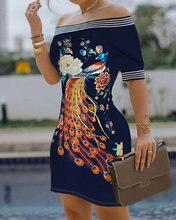 Модное женское Повседневное платье на одно плечо с павлином