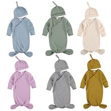 Sleeping-Bag Blanket Long-Sleeve Warm Baby-Girls Cotton Children's Autumn Hat Solid