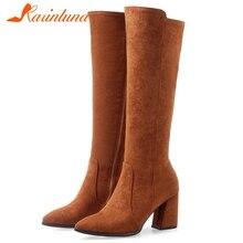 KARINLUNA/Новые сапоги до колена с острым носком, большие размеры 32-47 модные женские зимние сапоги на меху женская обувь на высоком каблуке