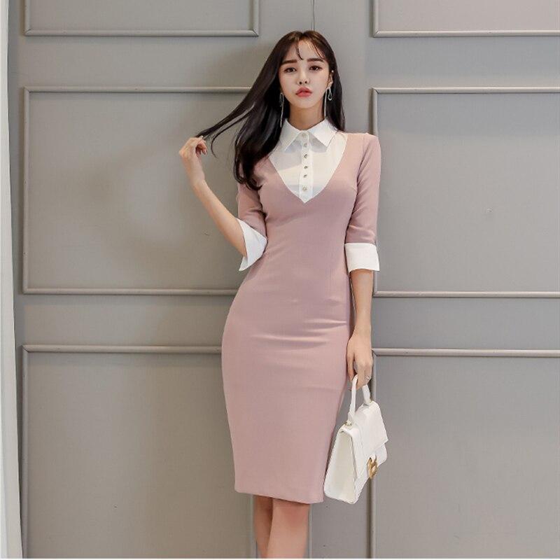 Spring New Shirt Dress Women Midi Bodycon Solid Single Breasted Pencil Office Lady Cloth Work Female Vestidos